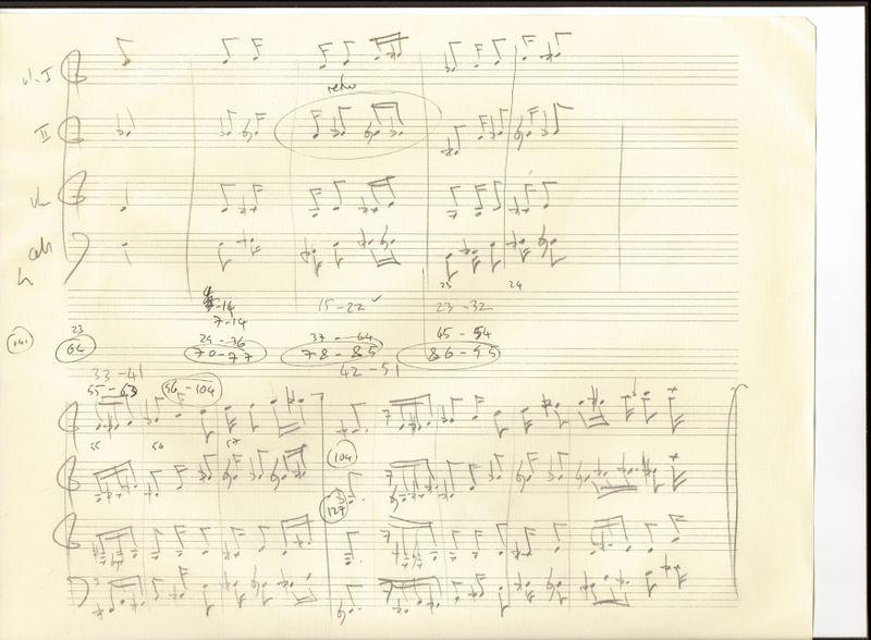 String quartet 3rd movt sketch