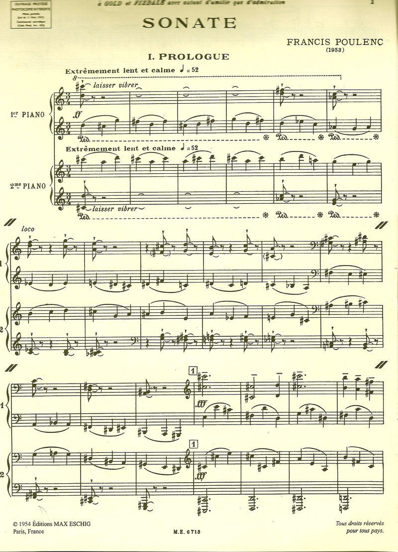 Poulenc Sonate score 1